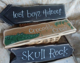 Peter Pan inspired Single & Multi pack signpost signs Neverland Lost Boys Hideout Croc Creek Skull Rock Tinkerbell Pixie Hollow  Indian camp