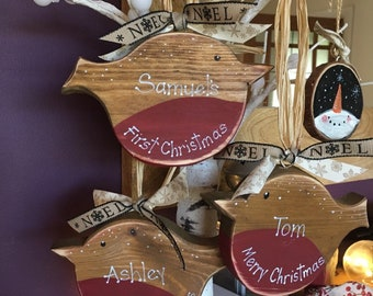 Personalised Wood Christmas Robin Bespoke Christmas decoration My first Christmas custom bauble gifts  Xmas Tree Ornaments Mantel Decoration