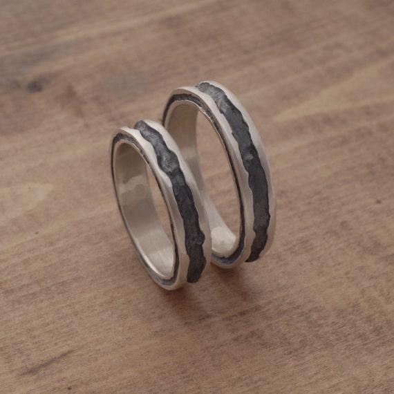 Oxidiertes Silber Eheringe Alternative Hochzeit Band Gesetzt Etsy