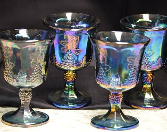 Indiana Glass Blue Carnival Iridescent Footed Tumblers Set of 4 - Vintage  Item #2642  ON SALE NOW!!