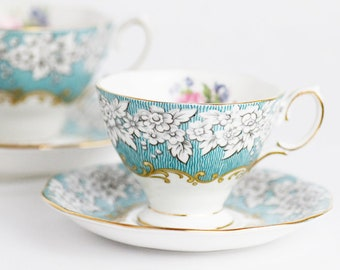 Royal Albert | ENCHANTMENT | Demitasse Cup & Saucer | Bone China England | Aquablue and Floral Pattern |  c1980s | SMALL SIZE
