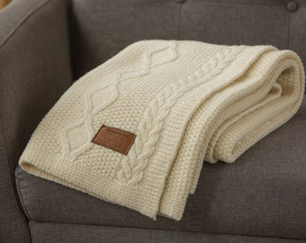 Cable Knit Natural Merino Wool White Creamy Ivory Braid Pattern Chunky Sofa Throw Blanket Large Boho Knitted Bed Runner