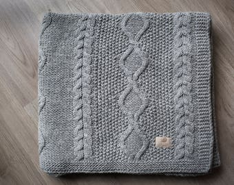 Gray Knitted sheep wool blanket throw, Cable knit wool blanket, knit bedspread, Large Knit Blanket, Knit throw
