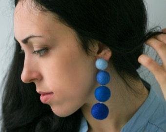 Statement earrings Lightweight earrings Long earrings Stud earrings Blue сlip on earrings dangle Felt ball earrings Handmade gifts for women