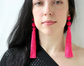 Hot pink tassel earrings Pink tassel earrings Extra long fuchsia earrings  Bon bon earrings Oversized earrings Statement ball lightweight