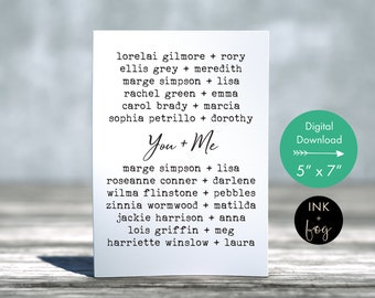 Card for Mom | mothers day card, birthday card for mom, famous daughters and mothers, greeting card, typewriter font, card from daughter