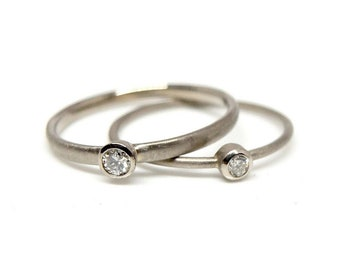 White gold ring with 0.04 or 0.05ct diamond, slim engagement ring with brilliant cut diamond, delicate gold ring gift for women