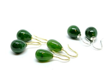 Earrings with dark green jade drops, gold or silver earhooks, plain dark green earrings, gift for women and girls