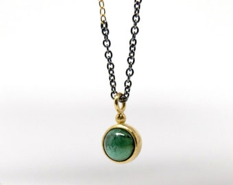 Blackened necklace with green tourmaline in 18K gold, gold and silver necklace with round, blue green tourmaline pendant, 47cm