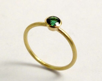 Yellow gold ring with bright green tourmaline, yellow gold, 18k, golden engagement ring with green gemstone, delicate ring for girlfriend