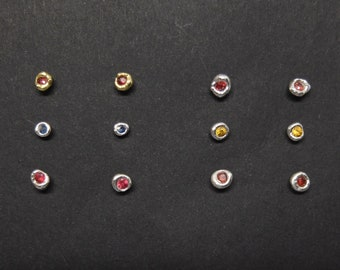 """Stud earrings with colorful sapphires, earrings """"melted"""" in silver or 18K gold with gemstones, Jewelry with red, yellow or blue stones"""