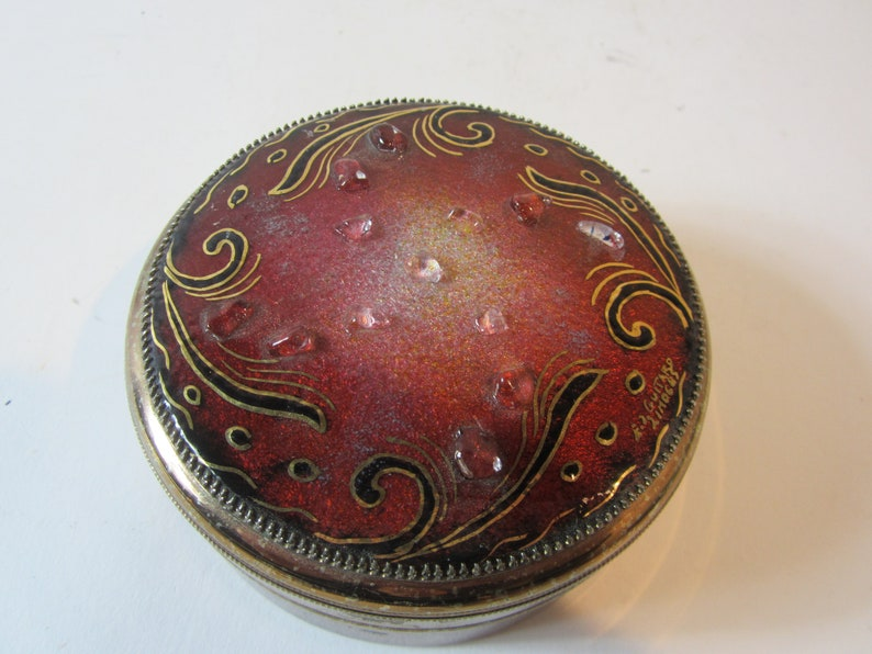Made in France A Stunning Vintage Hand-Made Copper-on-Enamel /& Brass TrinketRingJewellery Dish