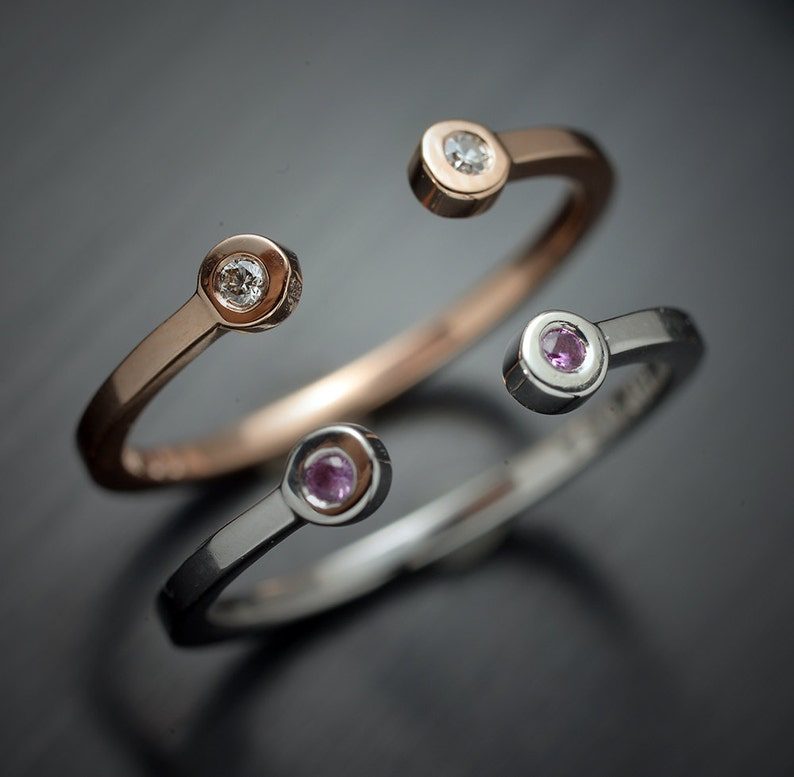 Available in White Gold 14 Karat Gold Stackable Open Band with Pink Sapphires or Diamonds Yellow Gold or Rose Gold