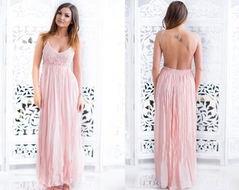 ca86eb13764 Peach Pink Lace Dress Maxi Long Evening Wedding Cocktail Prom Backless Open  Back Dress