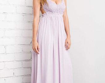1b8ebdf5dd2 Lavander Lace Dress Maxi Long Evening Wedding Cocktail Prom Backless Open  Back Dress