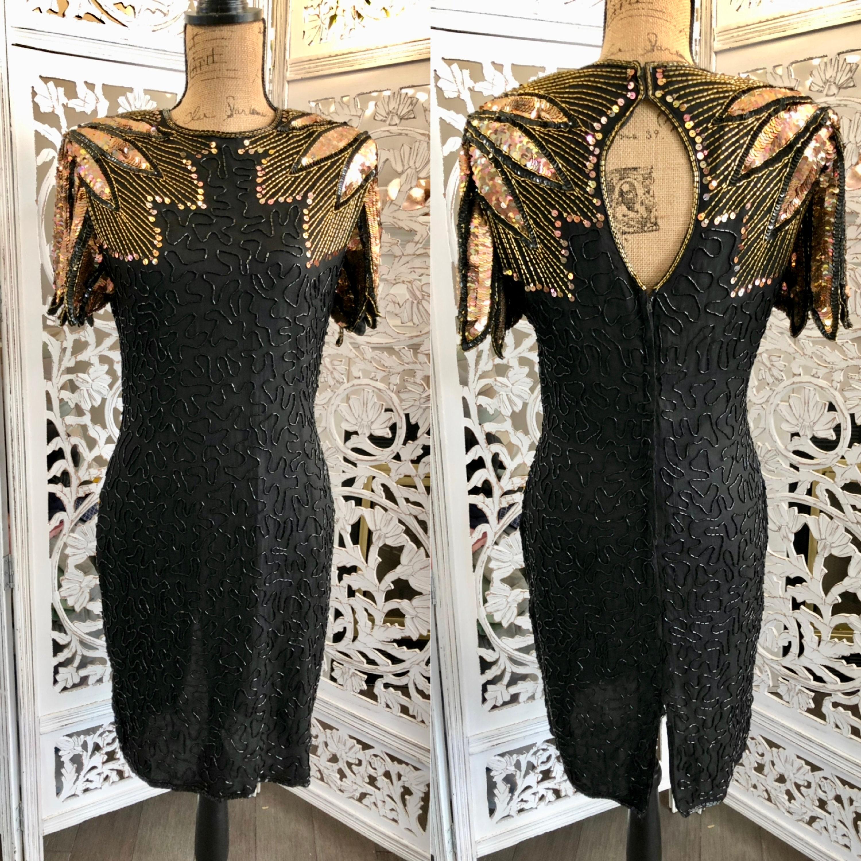 80s Dresses | Casual to Party Dresses 1980S Vintage Sequin Black Dress Stenay Beaded 6 $101.50 AT vintagedancer.com