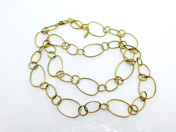 Chunky Chain Necklace Light Brass Tone Open link Chain Necklace