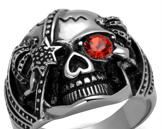 Stainless Steel Ring High polished (no plating) Men Top Grade Crystal Orange