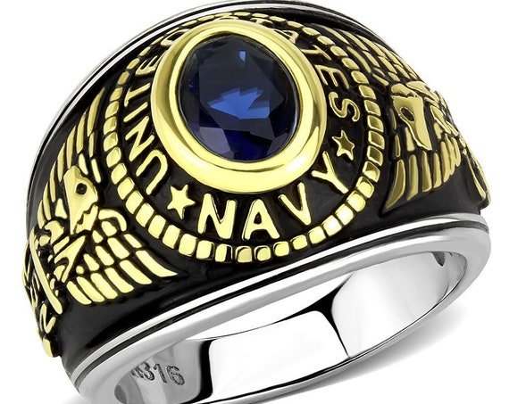Navy Stainless Steel Ring Two-Tone IP Gold (Ion Plating) Unisex Synthetic Montana