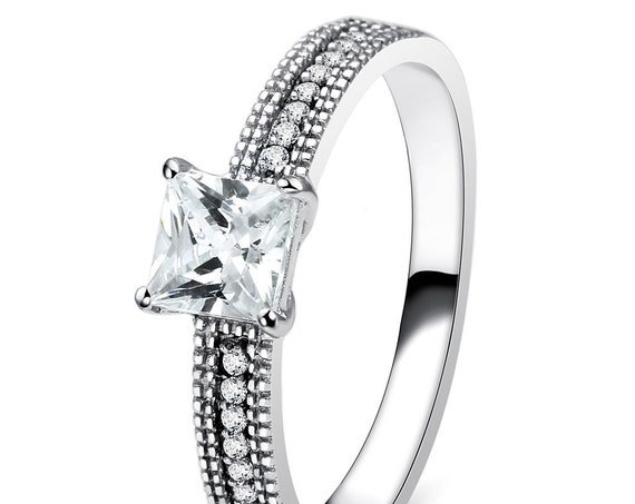 925 Sterling Silver Ring Rhodium Women AAA Grade CZ Clear
