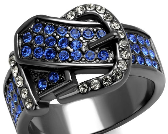 Stainless Steel Ring IP Light Black (IP Gun) Women Top Grade Crystal Multi Color