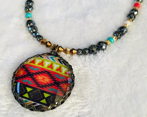 Magnetic Hematite Necklace High Power Strong and Earring Set Native American Theme