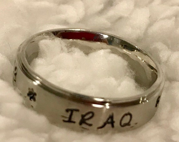 Custom Stamped Iraq Stainless Steel Ring
