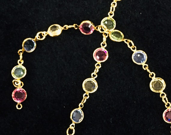 Lifetime Guarantee: 5MM Light Multi Austrian Crystal Gold Layered Chain