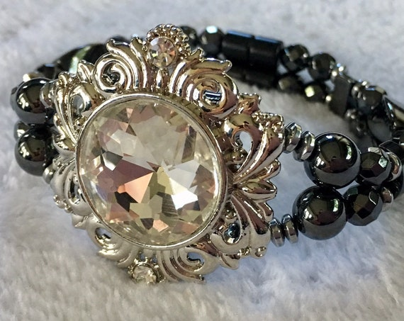 Silver Glass Shield, Magnetic Hematite Therapy Bracelet, High Power Magnetic