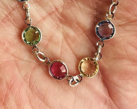 Lifetime Guarantee: 5MM Light Multi Austrian Crystal Sterling Silver Filled/Layered Chain