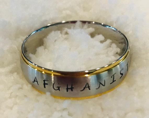 Custom Stamped Afghanistan Stainless Steel Ring