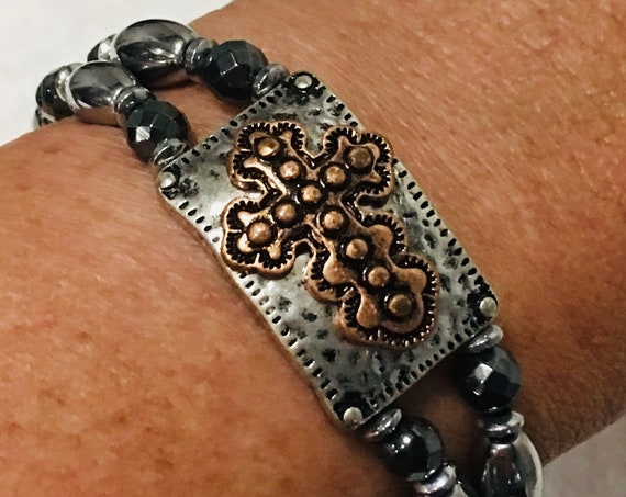 Copper and Silver Antique Cross Magnetic Hematite Therapy Bracelet High Power Magnetic