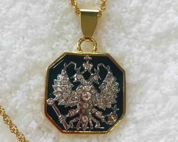 24k Vintage Joan Rivers Imperial Eagle Demi Parure Pendant