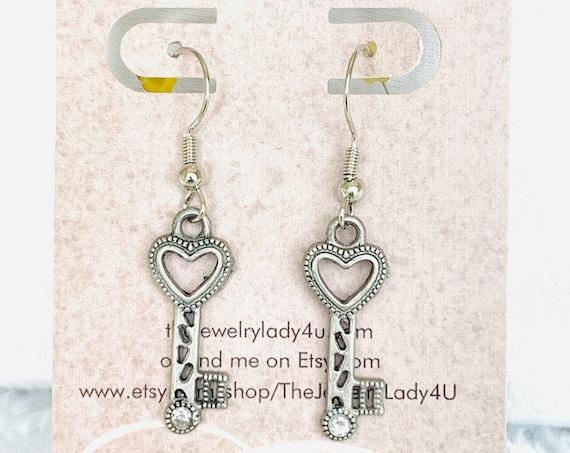 Clearance Key Lock Dangle Earrings Hypoallergenic