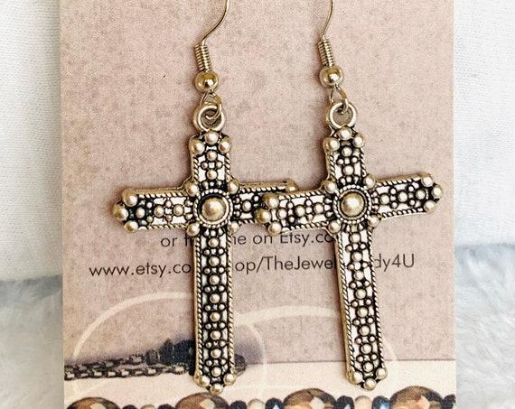 Clearance Cross Dangle Earrings Hypoallergenic