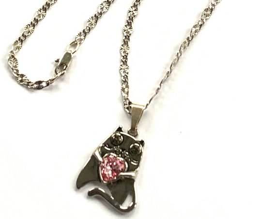 Swarovski Cat Pendant Necklace on Sterling Silver Filled Chain