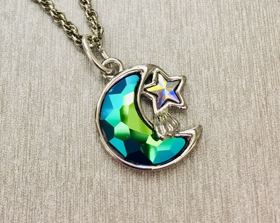 Swarovski Multi-color Crystal Moon and Stars Pendant on 3MM Sterling Silver Rope Chain, Lifetime Guarantee on chain