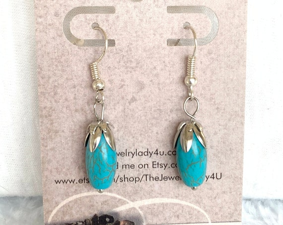Clearance Blue Howlite Dangle Earrings Hypoallergenic