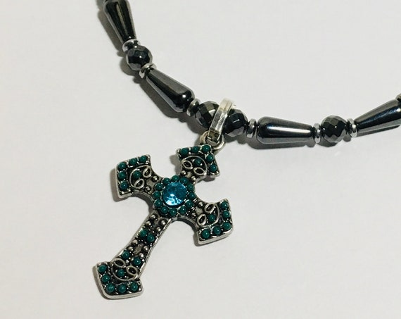 Blue Cross Magnetic Hematite necklace with blue Swarovski accent beads, High Power Magnetic Necklace