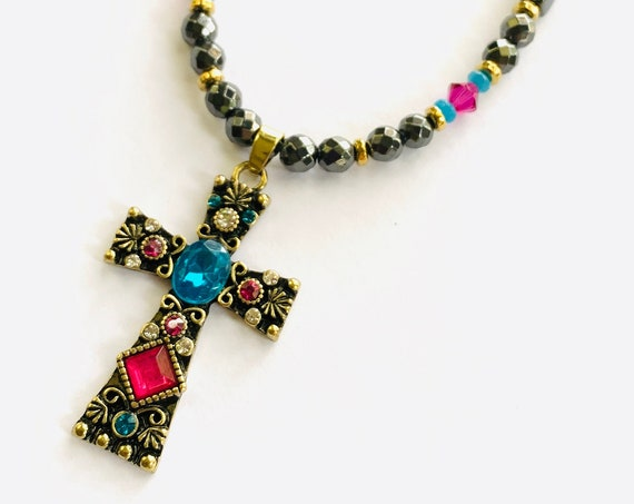 Multicolor Cross High Power Strong Magnetic Hematite Therapy Necklace