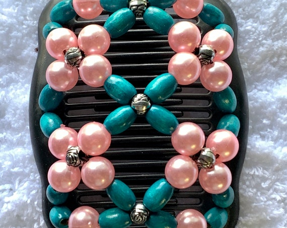 Beaded Double Hair Comb Pink & Blue, Elastic Hair Clip, Strong Hold Hair Accessory