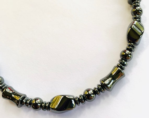 Strong High Power all Black Unisex Magnetic Hematite Therapy Necklace Bracelet or Anklet