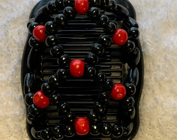 Beaded Double Hair Comb Red & Black, Elastic Hair Clip, Strong Hold Hair Accessory