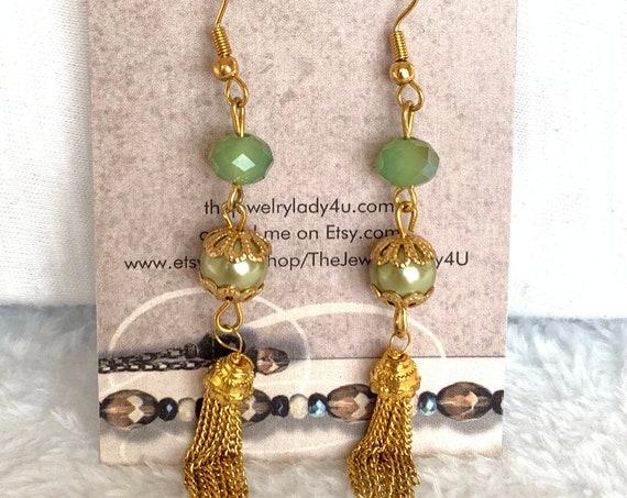 Clearance Green Gold Dangle Earrings Hypoallergenic