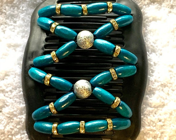 Beaded Double Hair Comb Turquoise, Elastic Hair Clip, Strong Hold Hair Accessory