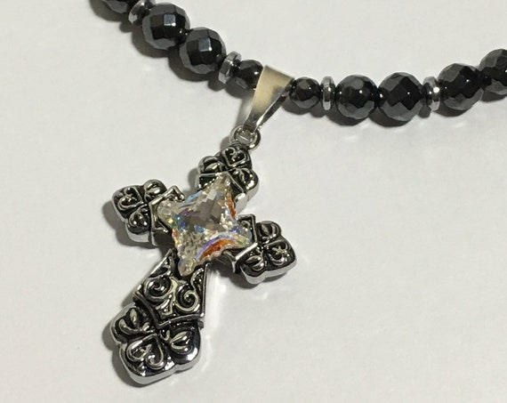 Swarovski Cross Necklace, Strong High Power Magnetic Hematite Therapy Necklace
