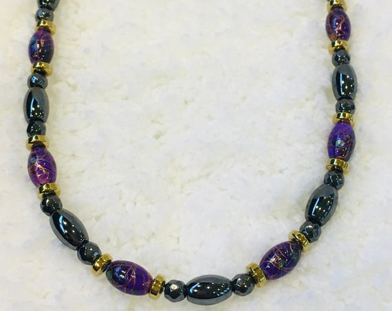 Purple, Gold, and Black Strong Magnetic Hematite Therapy Necklace