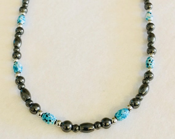 Turquoise Silver and Black Strong High Power Magnetic Hematite Therapy Necklace