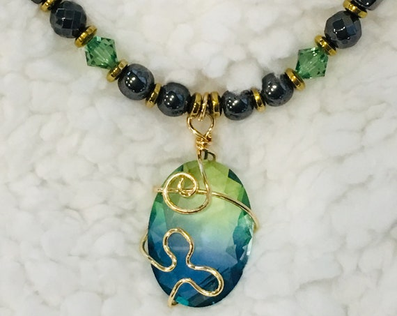 Sea Green Aqua Blue Glass Strong High Power Magnetic Hematite Therapy Necklace
