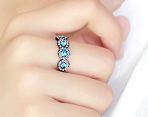 Stainless Steel Ring IP Black(Ion Plating) Women AAA Grade CZ Sea Blue
